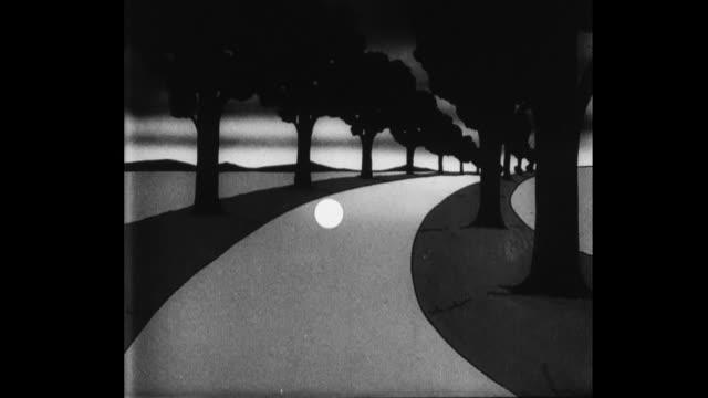 vidéos et rushes de 1931 the moon bounces like a ball down a never-ending winding road - 1931