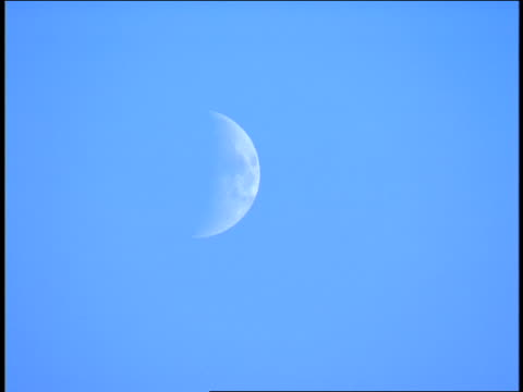 the moon shines in a blue sky. - space and astronomy stock videos & royalty-free footage
