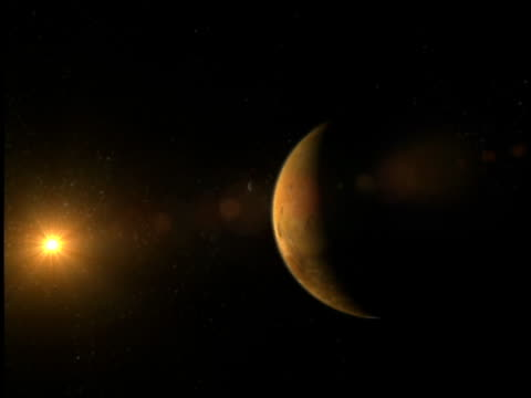 vídeos de stock e filmes b-roll de the moons phobos and deimos orbit mars. - júpiter