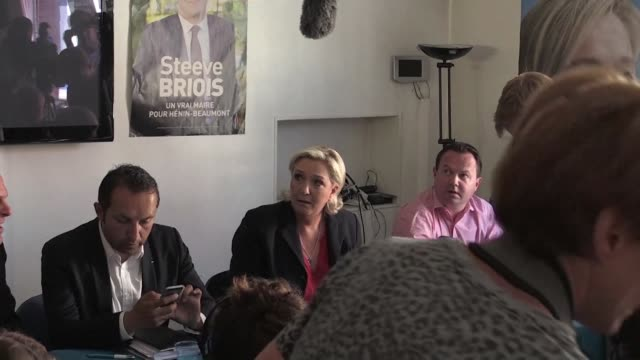 The morning after an electoral debacle for her National Front party the leader of far right French party Marine Le Pen holds a press conference