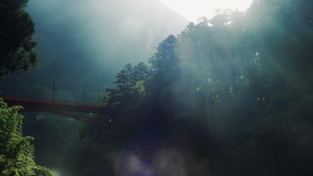 vídeos de stock e filmes b-roll de the morning mist seen from the bridge on the river side. - ambiente dramático