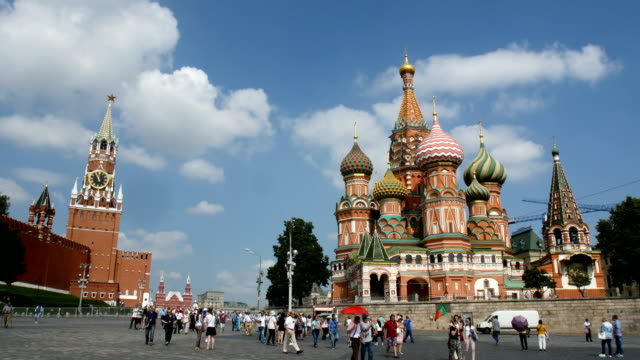 the moscow st. basil's cathedral  / moscow, russia - courtyard stock videos & royalty-free footage