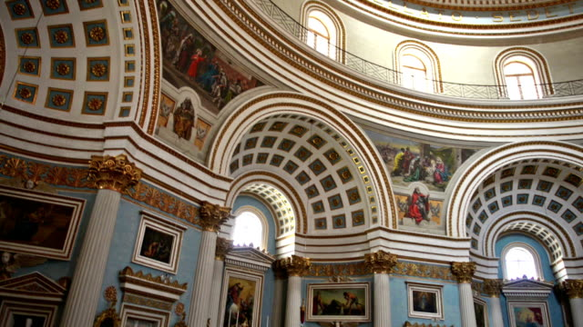 the mosta dome - architectural dome stock videos & royalty-free footage