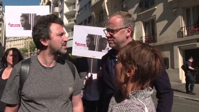the mother of a french photojournalist imprisoned in turkey and currently on hunger strike heads to the turkish embassy in paris as french president... - photojournalist stock videos & royalty-free footage