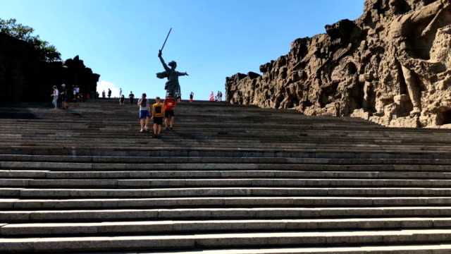 the 'motherland calls' monument overlooking volgograd near the volgograd arena during the world cup 2018 - 見渡す点の映像素材/bロール