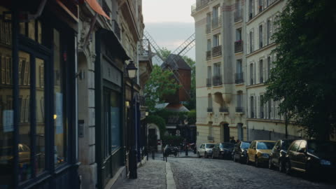 the moulin de la galette as seen from the lepic street - real time stock videos & royalty-free footage