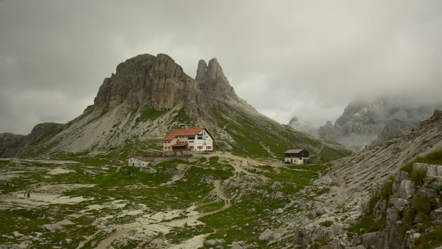 the mountain hut of the three peaks - cortina stock videos & royalty-free footage