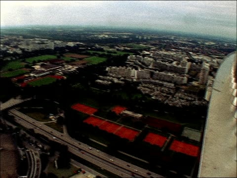 The Munich Olympic Park including the stadium tennis courts and the Olympic Tower stand out in Munich Germany