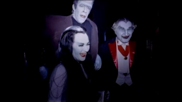 """""""the munsters"""" behind the scenes filming at the universal studios stage - television show stock videos & royalty-free footage"""