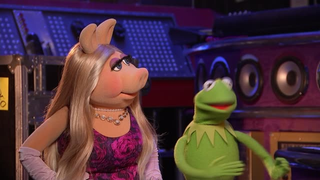 the muppets bring live show to the uk england london north greenwich the o2 arena kermit and miss piggy interview sot cutaway reporter - londra e hinterland video stock e b–roll