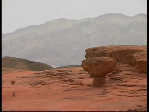 the 'mushroom' sandstone formation, timna park, israel - sandstone stock videos & royalty-free footage