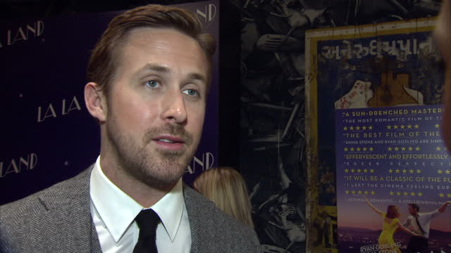 the musical film 'la la land' had a gala screening in soho actor and one of the stars of the film ryan gosling spoke to reporters about bringing back... - ryan gosling stock videos and b-roll footage