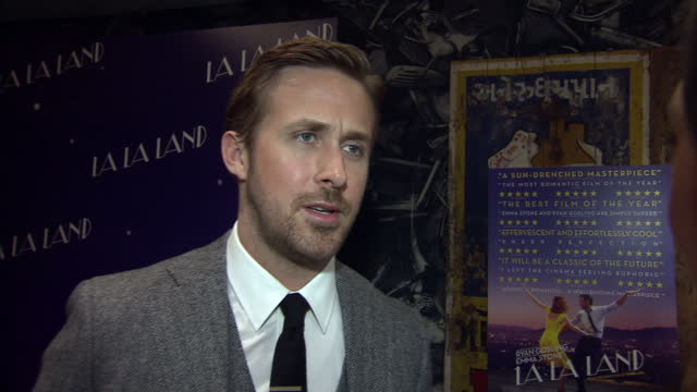 the musical film 'la la land' had a gala screening in soho actor and one of the stars of the film ryan gosling spoke to reporters about the... - ryan gosling stock videos and b-roll footage