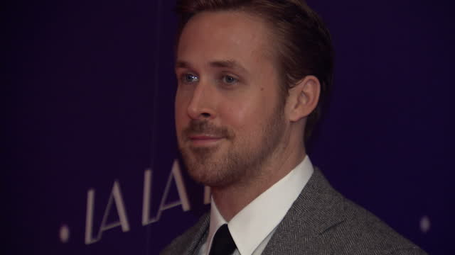 the musical film 'la la land' had a gala screening in soho. actor and one of the stars of the film ryan gosling posed for the press ahead of the gala... - ryan gosling stock videos & royalty-free footage