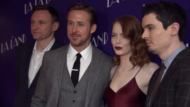 the musical film 'la la land' had a gala screening in soho director damien chazelle and the stars of the film emma stone and ryan gosling and zygi... - ryan gosling stock videos and b-roll footage