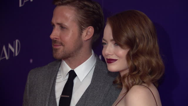 the musical film 'la la land' had a gala screening in soho. shows the stars of the film emma stone and ryan gosling posing for photos ahead of the... - premiere event stock videos & royalty-free footage