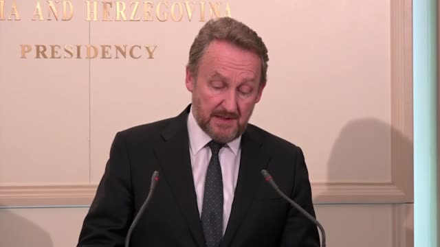 the muslim bosniak member of bosnia and herzegovina's tripartite presidency, bakir izetbegovic delivers a speech during a press conference in... - press room stock videos & royalty-free footage