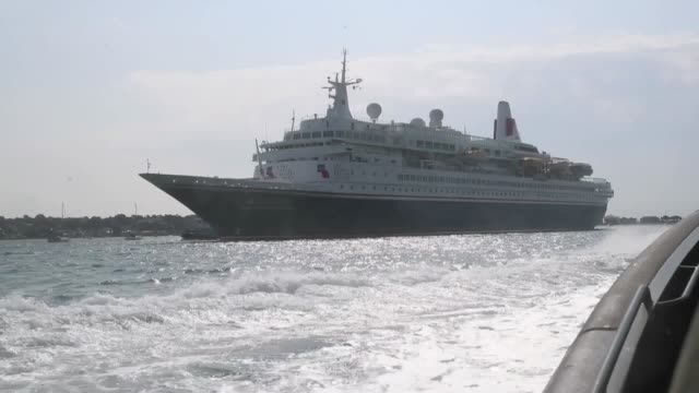 the mv boudicca with d-day veterans onboard arrives into poole in dorset. royal marines in orc's gave a demonstration to veterans before they greeted... - royal marines stock videos & royalty-free footage
