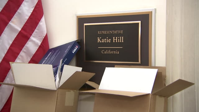 the nameplate for newly elected u.s. house of representatives katie hill on december 31, 2018 in washington d.c. - hill点の映像素材/bロール