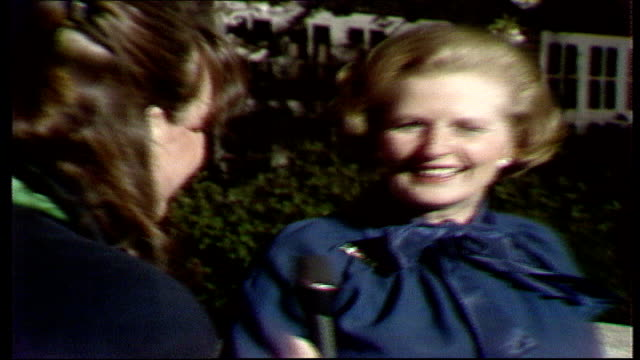 the nation decides general election special itn england london margaret thatcher mp leaving house with husband dennis thatcher sot'we're just... - allgemeine wahlen stock-videos und b-roll-filmmaterial