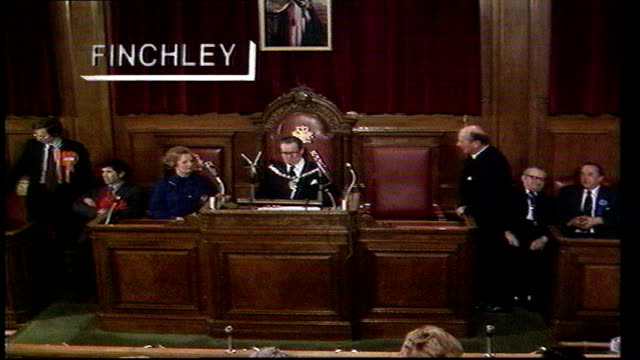 the nation decides general election special itn finchley thatcher into council chamber declaration thatcher victory speech including a thank you to... - allgemeine wahlen stock-videos und b-roll-filmmaterial