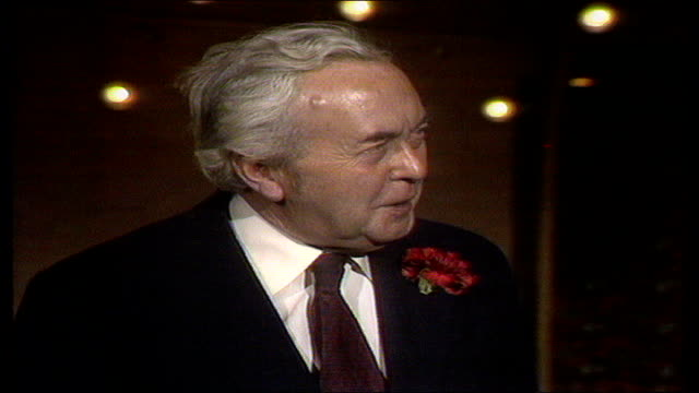 vídeos y material grabado en eventos de stock de the nation decides general election special; itn huyton ???? harold wilson interview mp interview sot on previous wins; his 1970 loss, the polls - 1970 1979