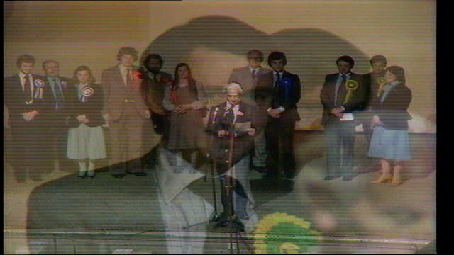 stockvideo's en b-roll-footage met the nation decides general election special; itn roxburgh declaration; david steel holds victory speech, including thank you to the police - david steel politiek