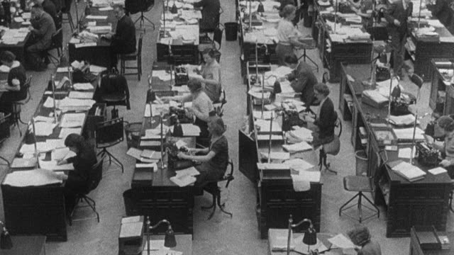 vidéos et rushes de montage the nation preparing for world war ii, with radio relay towers, factory workers working, a ship being launched, and farmers in their fields / united kingdom - 1930 1939