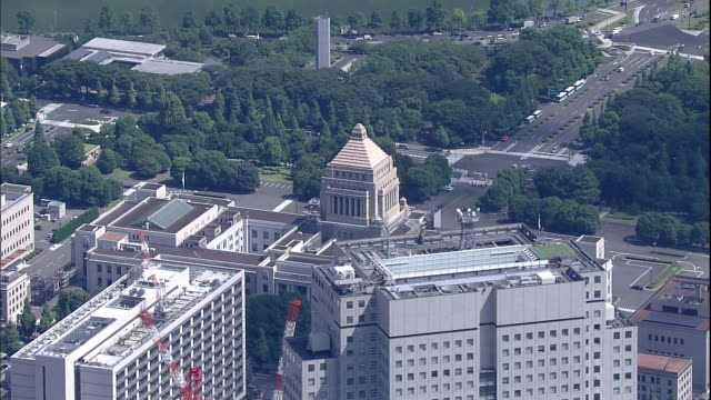 The National Diet Building stands in a very urban area in Tokyo-to Chiyodaku, Japan