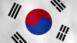 The national flag of South Korea waving animation - 4k