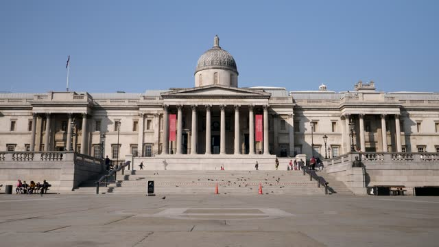 the national gallery at trafalgar square, london - arts culture and entertainment stock videos & royalty-free footage