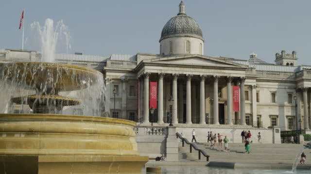 The National Gallery seen across the fountains of Trafalgar Square