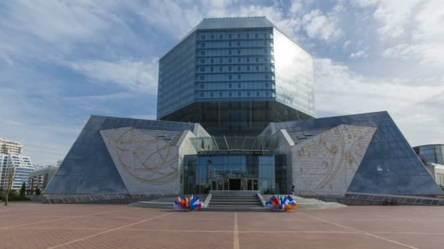 the national library of belarus, minsk, belarus - time lapse - belarus stock videos & royalty-free footage