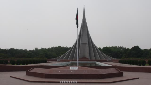 the national memorial in savar on the outskirts of the capital wears a deserted look on march 26 on bangladesh's independence day, during the country... - monument stock videos & royalty-free footage
