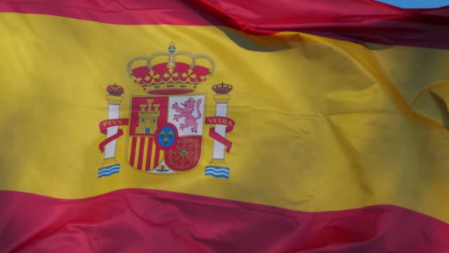 the national spanish flag waving in the wind. - スペイン国旗点の映像素材/bロール