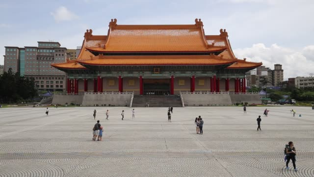 the national theater and national concert hall are twin performing arts venues at liberty square in zhongzheng district, taipei, taiwan. - national theater taipei stock videos & royalty-free footage
