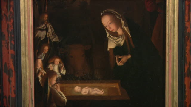ms the nativity at night by geertgen tot sint jans, oil on oak, circa 1490 / the national gallery, london, united kingdom - crib stock videos & royalty-free footage