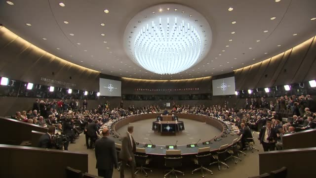 the nato defense ministers meeting kicks off at nato headquarters in brussels belgium on june 07 2018 - 本部点の映像素材/bロール