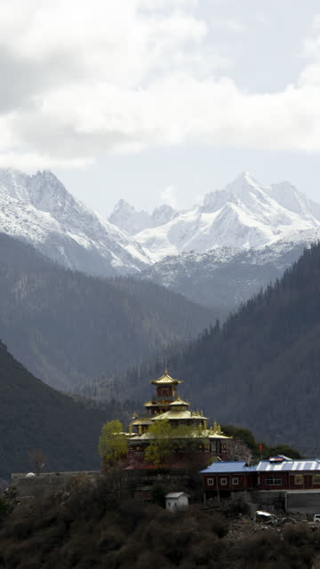t/l the natural scenery of nyingchi, tibet - traditionally tibetan stock videos & royalty-free footage