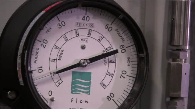 the needle on a pressure gauge moves as pressure increases on a water pump. - pompa dell'acqua video stock e b–roll