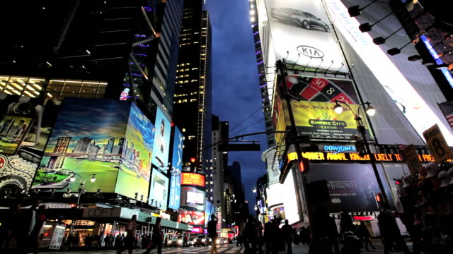 the neon lights of new york city and times square at night, manhattan, new york, north america, usa - broadway manhattan video stock e b–roll