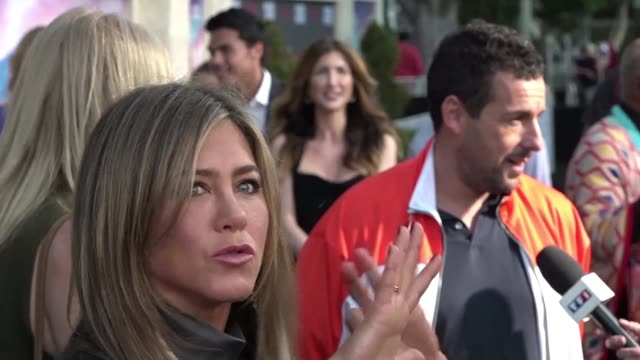 the netflix comedy murder mystery featuring jennifer aniston adam sandler and french actor dany boon premieres in los angeles - adam sandler stock videos & royalty-free footage