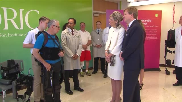 wgn the netherland's king willemalexander and queen maxima visited lurie medical research center in chicago on june 3 2015 to promote a research... - exoskeleton stock videos & royalty-free footage