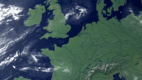 vídeos y material grabado en eventos de stock de los países bajos, aparece después de earth zoom (y alfa mate) - europa continente