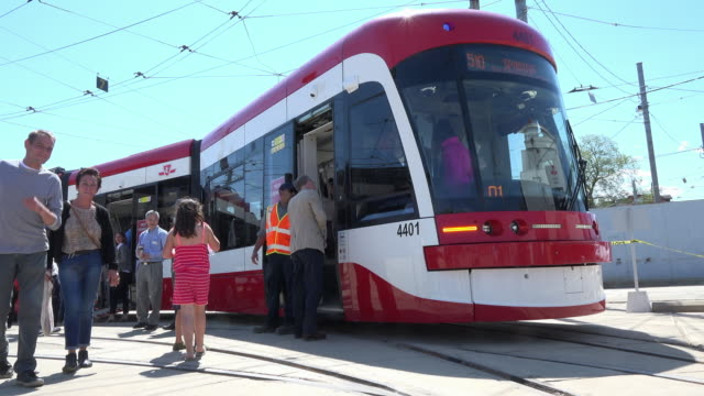 The new Bombardier Flexity Outlook streetcar was shown in the TTC Russell Carhouse The new mode of transport is to replace the aging fleet of the...