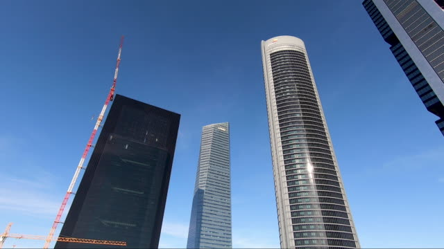 vídeos de stock e filmes b-roll de the new caleido building, under construction,rises in the ctba area , next to the other four ctba towers on october 16 in madrid, spain. ctba is a... - locais geográficos