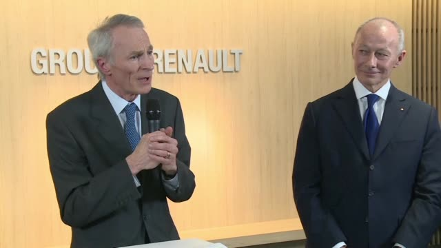 the new chairman of renault says the french group's alliance with japanese partners nissan and mitsubishi is absolutely essential for the future - privatfahrzeug stock-videos und b-roll-filmmaterial