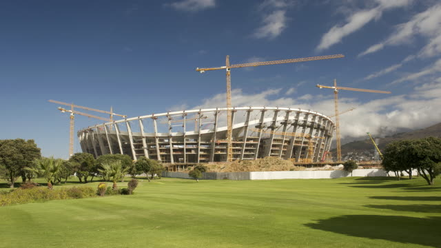 t/l the new fifa 2010 cape town stadium under construction in greenpoint, south africa - fifa stock videos & royalty-free footage