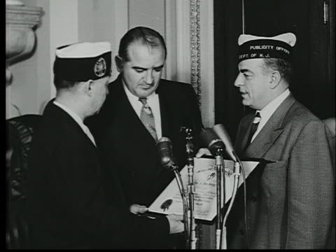 the new jersey chapter of the army and navy union presents senator joseph mccarthy with a citation. - union army stock videos & royalty-free footage