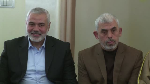 the new leader of hamas in gaza yahya sinwar made his first public appearance since his election for the inauguration of a mosque on friday winning... - hamas stock videos & royalty-free footage